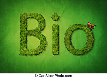 The text Bio made out of grass with a butterfly on a textured green background