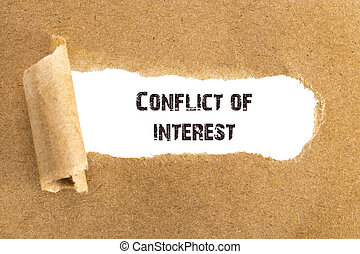 The text Conflict of interest appearing behind torn brown paper