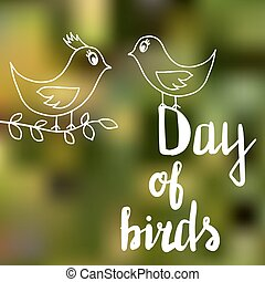 The text Day of birds in white letters on a bright summer green background, next two birds, one of them holding a twig in its beak