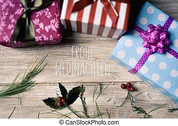 text frohe weihnachten, merry christmas in german