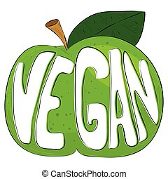 The text vegan on a green cartoon apple.