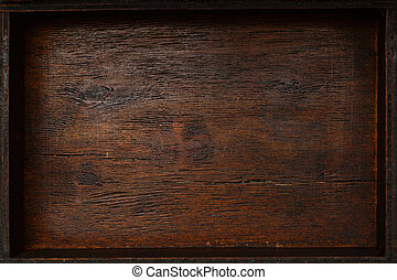 the texture is beautiful naturally aged wood. Vintage background. Wooden empty box, top view