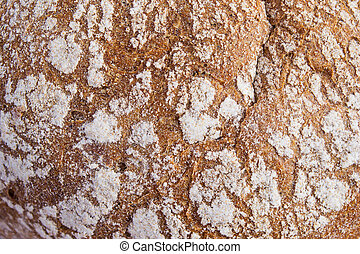 The texture of rye bread with a crispy crust, top view