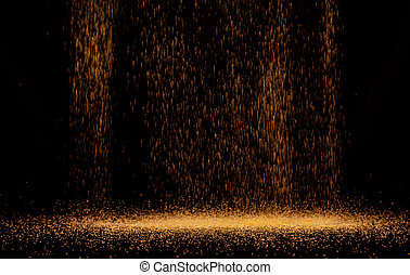 The texture of the fall of gold particles