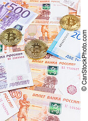 money and bitcoin - the texture of the money and bitcoin,...