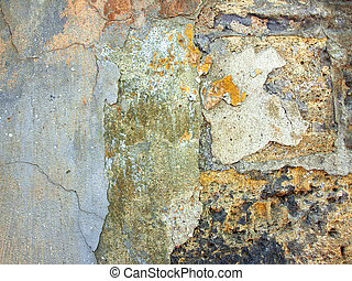 The texture of the old wall of the coquina cracked