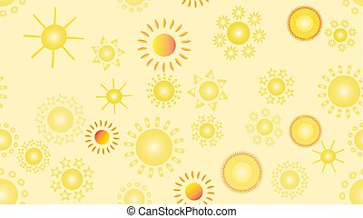 The texture of the pattern is seamless from a multitude of warm bright cheerful variegated beautiful hot suns of round with rays of different shapes. Vector illustration