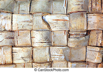 The texture of woven birch bark