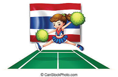 The Thailand flag with a cheerleader