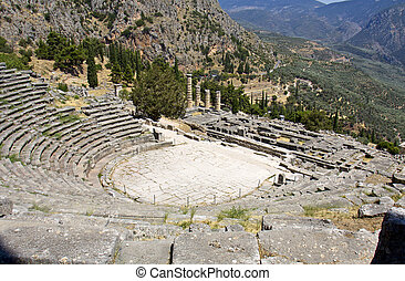 The theater of ancient Delphi in Greece
