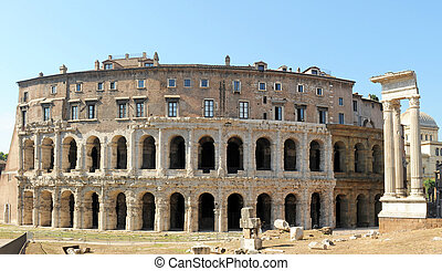 The Theatre of Marcellus is an ancient open-air theatre built in the closing years of the Roman Republic. Rome, Italy, Europe.