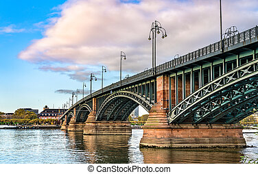 The Theodor Heuss Bridge over the Rhine River in Germany