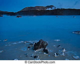 The thermal water in Grindavik at the blue hour