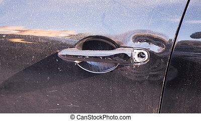 the thief broke the lock in the car. Car thief, car theft concept