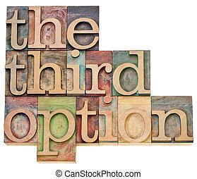 the third option - alternative choice concept - isolated...