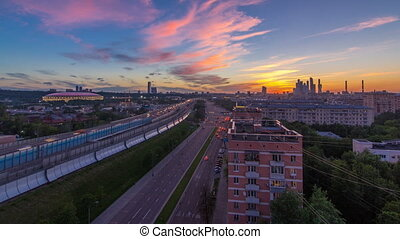 The Third Ring Road after sunset day to night timelapse...