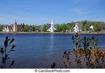 The Three Churches in Mahone Bay, Nova Scotia, Canada, I sharpened the photo as per the reviewer