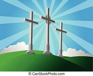 The Three Crosses - Vector illustration of the religious...