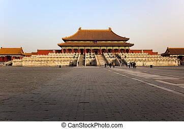 The Three Great Halls. Forbidden City In Beijing, China -...