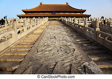 Early winter morning. Steps leading up to the Three Great Halls Palace. Forbidden City In Beijing, China