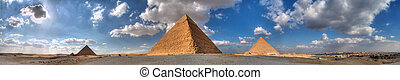 The Three Great - Huge panorama of the three pyramids in...