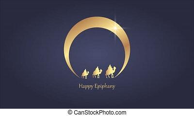 The three kings follow the star to Bethlehem in Epiphany, art video illustration.