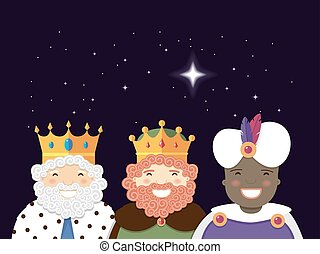 The Three Kings with christmas star. Epiphany day. Vector...