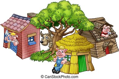 The Three Little Pigs Fairytale - An illustration from the ...