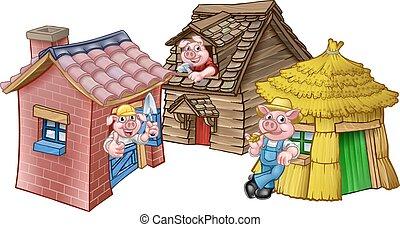The Three Little Pigs Fairytale Houses - A cartoon ...