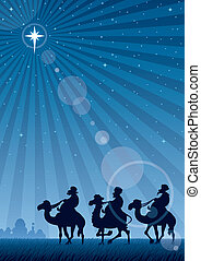 The three Magi follow the Star of Bethlehem. No transparency used. Basic (linear) gradient used for the sky and the lens flare effect. A4 proportions.