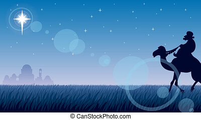 Star of Bethlehem - The three Magi follow the Star of...