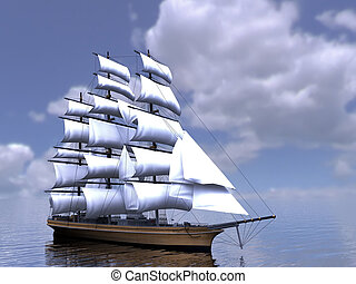 The three-masted sailing ship