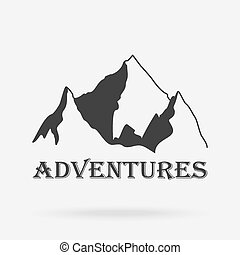 The three peaks vintage mountains. Adventure labels. Vector...