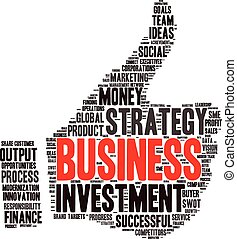 the thumbs up symbol, which is composed of words on business themes