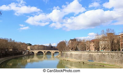 The Tiber River, Bridge systems. Rome, Italy. Time Lapse