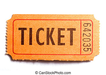 The ticket - An entrance ticket in closeup on a white...