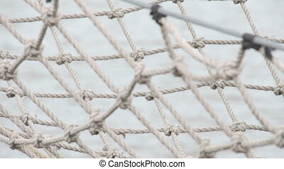 The tied ropes on the ship