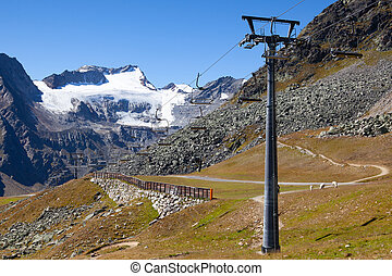 The Tiefenbach glacier located near Solden in the Otztal Alps of Tyrol, Austria. During the winter, the glacier is accessible by cable car and from spring time by car, using the Gletscherstrasse