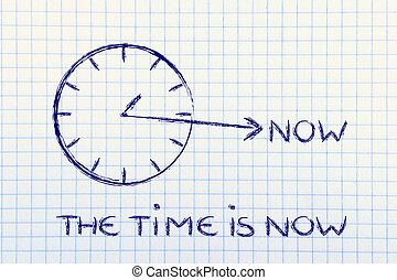 the time is now - concept of not wasting time, clock with...