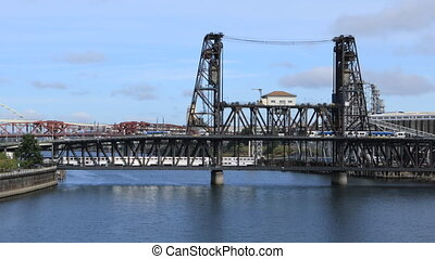 Timelapse Portland, Oregon bridges over the Willamette River...