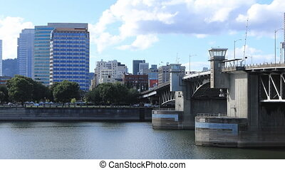 Timelapse Portland, Oregon city center and bridge over...
