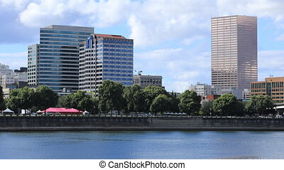 The Timelapse Portland, Oregon city center by the Willamette River