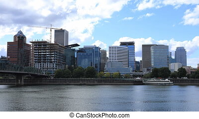 The Timelapse Portland, Oregon city over the Willamette River