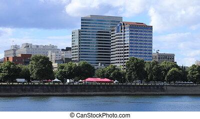 Timelapse Portland, Oregon downtown by the Willamette River