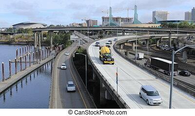 Timelapse Portland, Oregon expressway by the Willamette...
