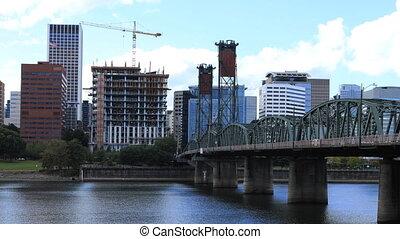 Timelapse Portland, Oregon skyline over the Willamette River...