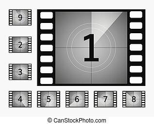Movie countdown numbers vector set