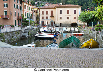 The tiny harbour of Torno at lake Como, Italy