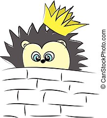 The tiny hedgehog with a crown looks cute vector or color illustration