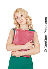 the tired beautiful blonde holds the red folder